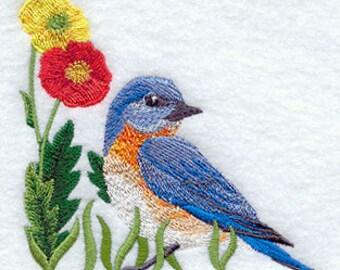 Bluebird Towel - Flower Towel - Bird Towel - Embroidered Towel - Flour Sack Towel - Hand Towel - Bath Towel - Apron - Fingertip Towel