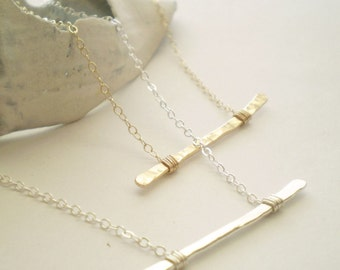 Twig Necklace - The Every Day Necklace - Hammered with Delicate Chain
