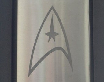 Star Trek Etched Stainless Steel Hip Flask by Jackglass on Etsy