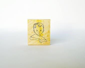 Little Boy Stamp, Rubber Stamp, , Mischievous Boy, Kid Stamp, Child Rubber Stamp, Line Drawing, Rubber Stamps, Card Making