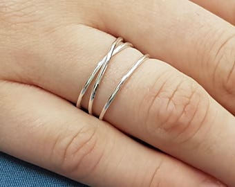 Silver wrap ring, Wraparound ring, Unique silver ring, Wide stack ring, minimalist ring sterling silver