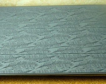 Mega TRIBAL FEATHERS Fineline Ceramic, Polymer, Metal Clay and Inks Rubber Stamp  MGT305