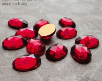 Vintage Cabochons - 10x14 mm Ruby Red - 6 West German Faceted Glass Stones