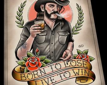 Lemmy Kilmister Motorhead Tattoo Flash Art Print