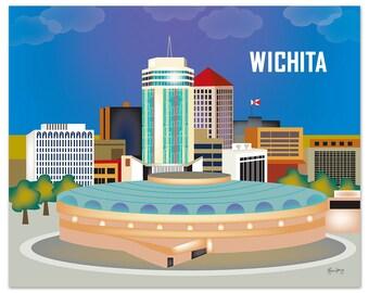 SALE Wichita Skyline Print, Kansas Wall Art, Travel Wall Art - Loose Petals Horizontal Wichita Art Print, Wichita Art Gift  - style W-8-WIC