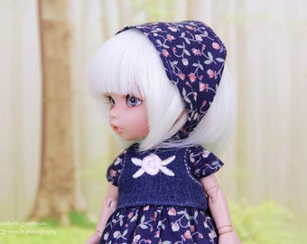 Denim outfit for Pukifee & Lati Yellow (dress, underskirt, bandana, socks) 1/8 BJD dolls
