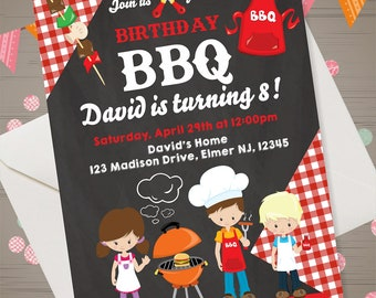 BBQ Birthday Invitation BBQ Birthday Party Kids BBQ Invitation Barbecue Invitation Kids Backyard Birthday Invitation chalkboard bbq invite