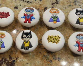 Set of 8 Super Hero knobs