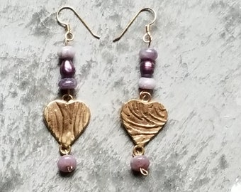 Lilac stone Heart Earrings, Bronze Earrings, Gold colored, pearl, purple, pink, lavendar, handmade jewelry, made in usa
