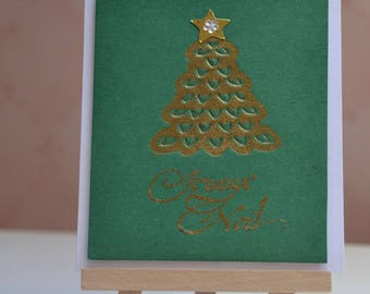 Merry Christmas gold Christmas tree card
