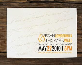 Simple Diagonal Script Wedding Invitations