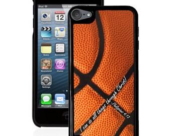 Philippians 4:13 Basketball iPod 5g case, bible verse scripture ipod case 4g 5g  faith iPod case 5g & 4g
