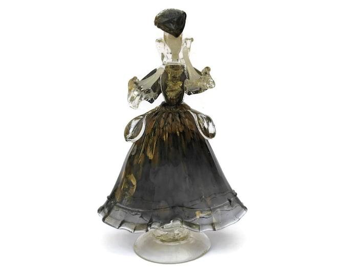 Mid Century Murano Glass Sculpture Lady Figurine. Blown Glass Dancing Figure.