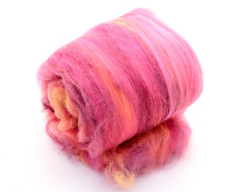 "Fiber Art Batt, fiber spinning batt, felting batt, hand dyed,  orange, pink, burgundy, drum carded batt, One of a kind, ""Spring""  3.6 oz."