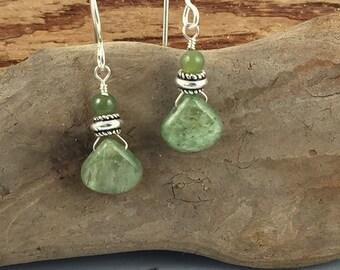 Green Kyanite, jade and sterling silver earrings