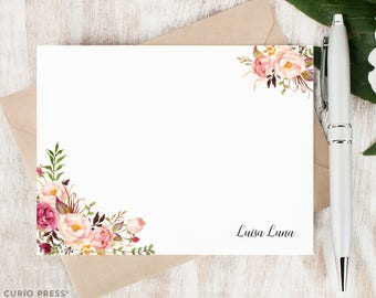 Personalized Notecard Set / Flat Personalized Stationery / Stationary Note Card Set / Flower // PAINTED FLORALS I