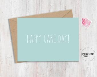 Birthday Card, Happy Cake Day!, Celebration Card, Best Wishes Card - Aqua