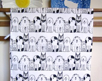 Dogs in Rows Print Linen/Canvas Kitchen Towel