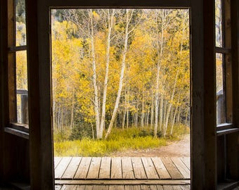 Ghost town photo, aspen trees fall, Colorado art, rustic western photo, Ashcroft, rustic home decor, log cabin decor, old log building art
