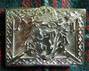 Handmade Scottish Kilt Belt Buckle Polished Pewter.