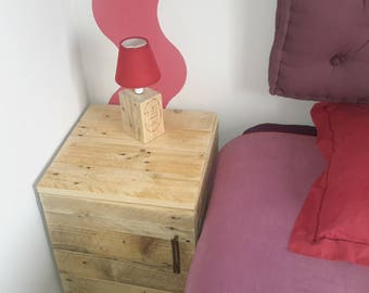 Upcycled wooden bedside lamp ' without shade