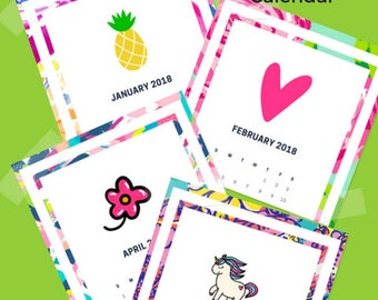 """2018 Printable Lilly Pulitzer Monthly Desk Calender - Lilly Calendar, 12-Month 5""""x7""""  Desk Calendar-Lilly Printables - INSTANT DOWNLOAD"""