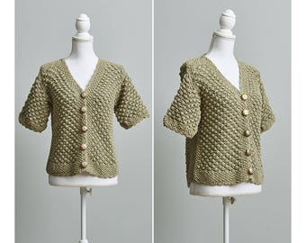 Women's Vintage Hand Knit Neutral Short Sleeve Cardigan
