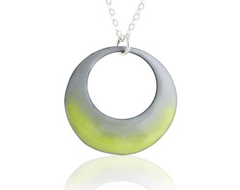 Green Mod Circle Necklace