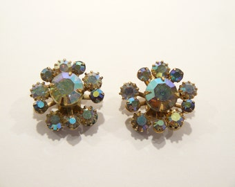 Brilliant Vintage AB Rhinestone Clip Earrings