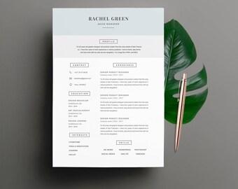 """Modèle de CV """"RACHEL"""" moderne & Lettre de motivation   4 Pages   Pour Ms Word   Guide d'utilisation Français + Anglais   Professionnel  """