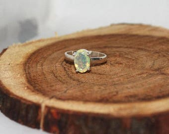 Welo opal sterling silver ring 6.75 US size , Rainbow fire Opal Ring, White Opal Ring, ethiopian opal faceted Oval 10x6 mm silver ring:- 10