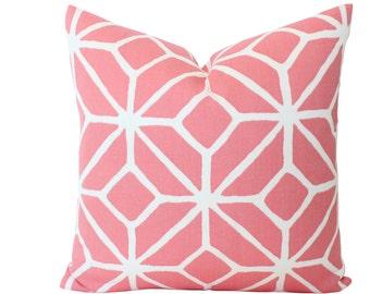 Outdoor Pillow Cover in Schumacher Trina Turk Trellis Print in Watermelon Pink