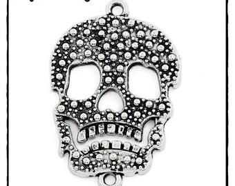 1pcs - skull connector silver 35mm x 23mm metal 35 mm