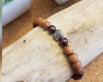 Garnet Sandalwood Mala Diffuser Bracelet with Buddha