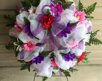Etsy White, Pink and Purple Cemetery   Funeral   Sympathy   Memorial Flower Wreath on Etsy   Wreaths on Etsy   Etsy Wreaths