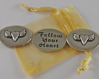 Set of 3 Heartwing Follow Your Heart Inspiration Coins with Organza Bag