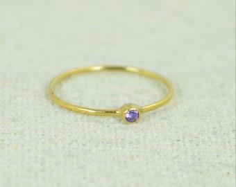 Tiny Amethyst Ring,  Gold Filled Amethyst Stacking Ring, Amethyst Ring, Amethyst Mothers Ring, February Birthstone, Amethyst Rings