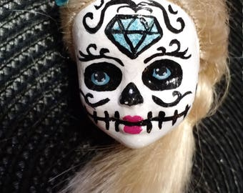 Sugar Skull, Day of the Dead, Dia de los Muertos hand painted doll head keychain