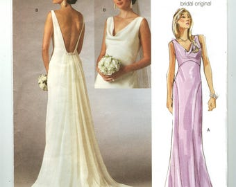 V2965 Vogue - Bridal Original - Misses Fitted, Bias Dress with lined skirt -  NEW Sewing pattern  Sz. F 16-18-20