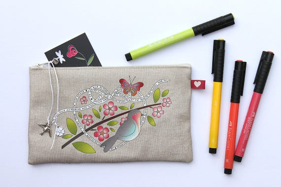 """Pencil in natural linen Kit """"red throat and poem of Prévert"""""""