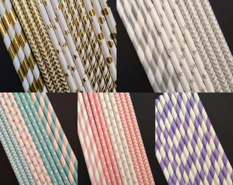 Assorted Colors Paper Straws, Party Straws, Pick your color!
