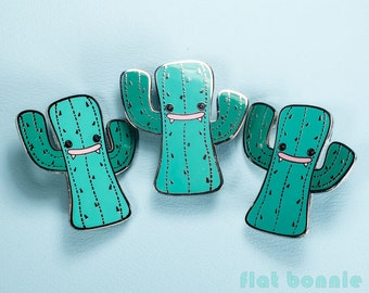 Enamel pin cactus, Kawaii cactus pin enamel jewelry, Cute jacket pin, Succulent metal badge cacti pin, Backpack pin gift, Flat Bonnie