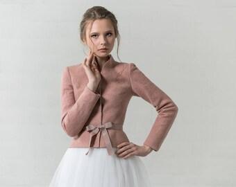 Dusty pink jacket    bridal jacket   felted jacket   pink cardigan   bridal bolero   Dusty rose wedding jacket   blush wedding   pink jacket
