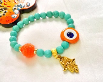 SALE-------- GYPSY'S LUCK Bracelet- Evil Eye Jewelry - Amulet Bracelet- Middle Eastern Jewelry