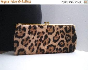 ON SALE Classic High End 1960's Vintage Leopard Faux Fur Handbag * Retro Rockabilly Mid Century Clutch Purse * Old Hollywood Regency Glamour