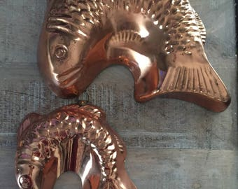 Vintage Copper Molds | Copper Fish Jello Molds | Kitchen Wall Decor | Fish Decor