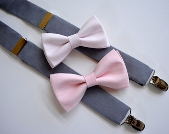 free swatchesBoys bow tie and suspenders,pink bow tie, gray suspenders,light pink weddings,kids accessories,wedding accessories for boys