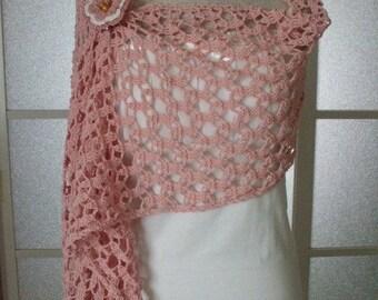 SALE Crochet Stole Scarf - Cute Pink -
