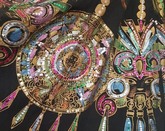 Vintage 1950's Hand Painted Mayan Calendar and Masks Sequin Traditional Mexican Circle Skirt