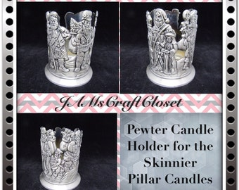 Candle Holder Pewter  Vintage For Skinny Pillar Candles Gift Holiday Decor Country Decor Cottage Chic Decor Unique Christmas Decor Santa